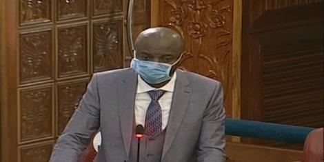 Senate Majority Chief Whip Irungu Kang'ata addresses the Senate on Wednesday, May 13, 2020
