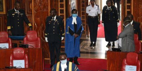 Senate Speaker Ken Lusaka (front) leads senators in a meeting on Tuesday, March 31, 2020