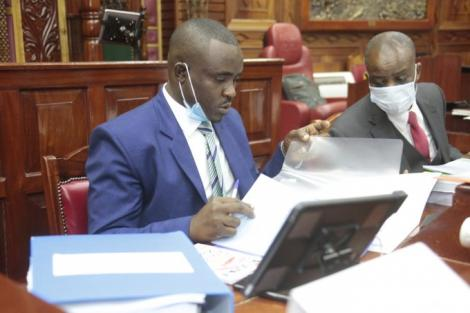 Senator Cleophas Malala (Left) pictured during the first hearing of Kirinyaga Governor Anne Waiguru's impeachment Motion June 23, 2020.