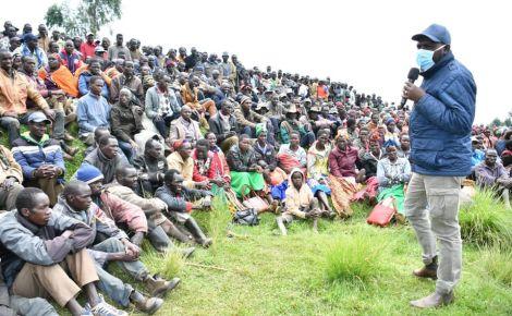 Senator Kipchumba Murkomen addressing landslide survivors in Elgeyo Marakwet County in April, 2020.