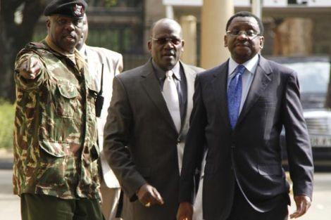 Senators James Orengo (right) and Johnstone Muthama leave former Inspector-General of Police David Kimaiyo's office at Jogoo House in Nairobi on July 2. 2014