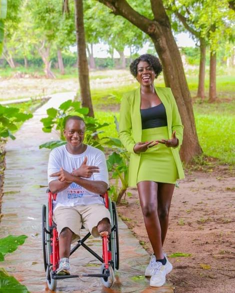 Singer Akothee and her Adopted Son Shadrack Mwita. Her foundation helped him walk again using prosthetics.