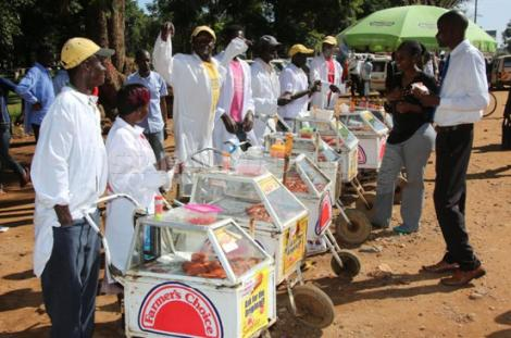 File image of smokie vendors lined up at a bus terminus