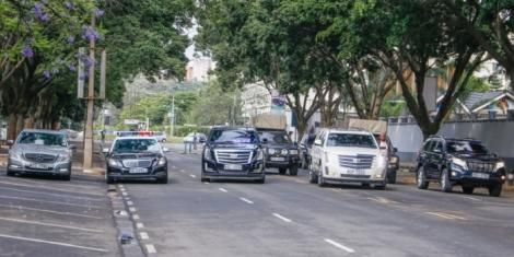 Governor Mike Sonko's convoy of luxury cars.