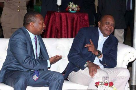 Former Nairobi Governor Mike Sonko (left) with President Uhuru Kenyatta