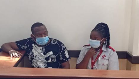 Mike Sonko in a court session on Thursday, March 4 accompanied by a medical officer