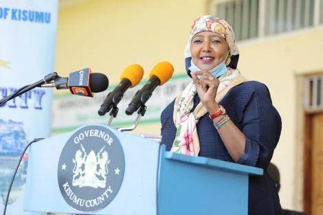 Sports CS Amina Mohamed speaking during the ground breaking ceremony of Jomo Kenyatta International Stadium at the ASK Kisumu Showground in Mamboleo, Kisumu County on June 24, 2020.