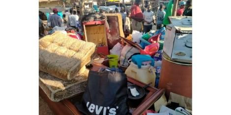 Stolen goods piled up at a market in Kibwezi. September 16, 2020..