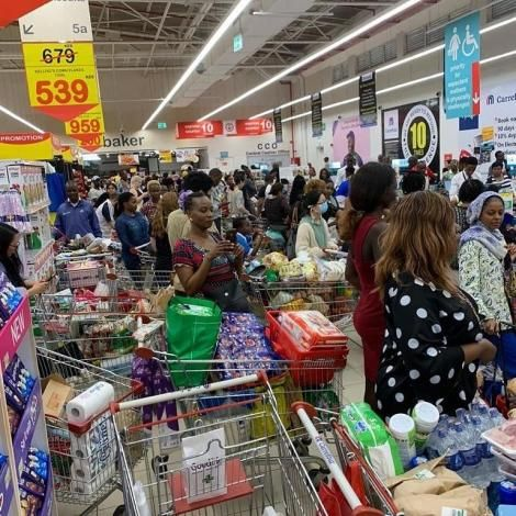 A photo of people at a Nairobi supermarket for shopping on Friday, March 13, 2020.