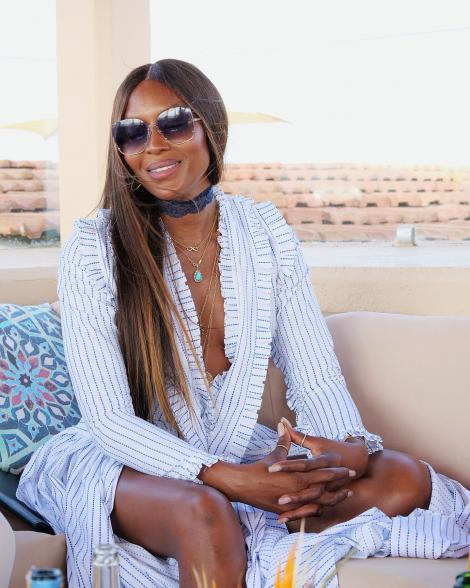 Supermodel Naomi Campbell enjoys breeze at the Kenyan Coast.