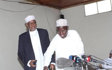 Supkem national chairman Hassan Ole Naado (Right) with Chairman of the National Muslim leaders forum Abdillahi Abdi.