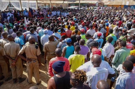 Supporters at an ODM rally in Malindi on March 3, 2021