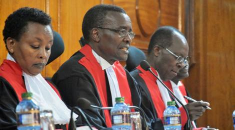 Left to right: Supreme Court Judge Philomena Mwilu, CJ David Maraga during a past ruling