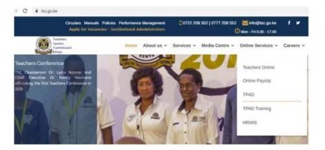 The TSC website homepage