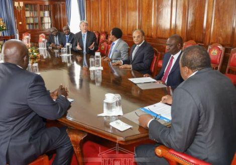 WSI President Simon Bartley duringa meeting with President Uhuru Kenyatta at State House, Nairobi on February 24, 2020.