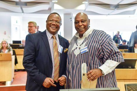 Tanzanian opposition MP Tundu Lissu (Left) and Kenyan Human rights activist Maina Kiai pose for a photo. September 19, 2019.