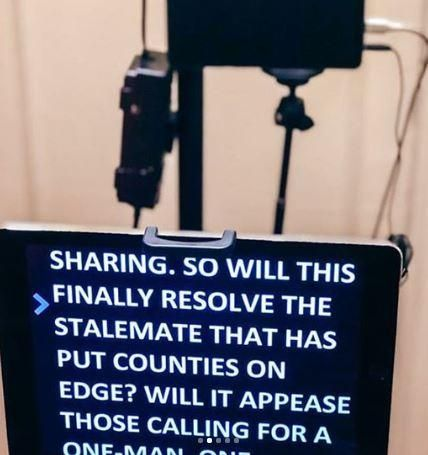 The teleprompter used by Citizen TV anchor Waihiga Mwaura for the bulletin on July 28, 2020.
