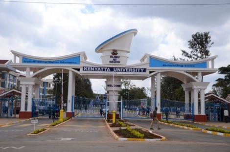 The Kenyatta University main gate in Kiambu County.