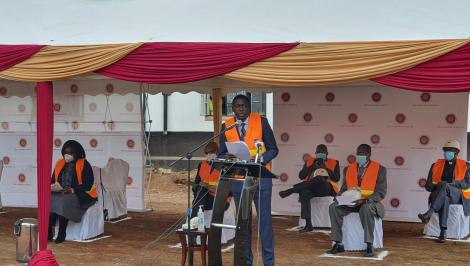 The Nairobi Hospital CEO Dr Allan Pamba speaking during the ground breaking ceremony. July 20, 2020.