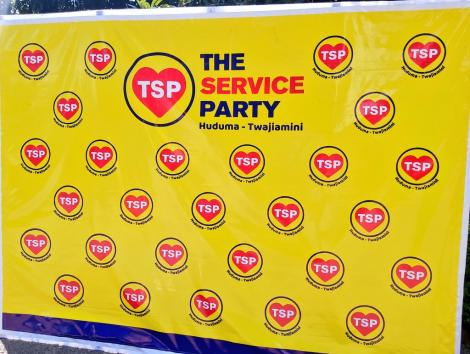 The Service Party (TSP) logo displayed at a press conference in Nairobi on June 24, 2020
