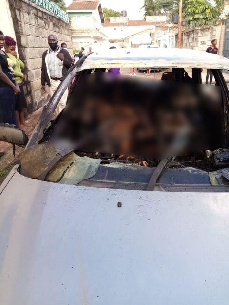 The car that burned down in Buru Buru Estate, Nairobi on April 29, 2020.