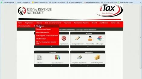 The process to file returns on the KRA iTax portal.