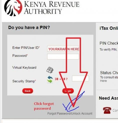 The process to reset your password on the KRA iTax portal.
