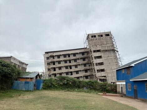 The leaning Kinoo building that partially sunk on Friday, September 3, 2021