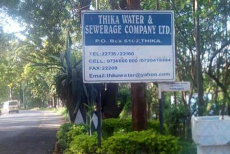 Sign leading to Thika Water and Sewerage Company (THIWASCO) offices