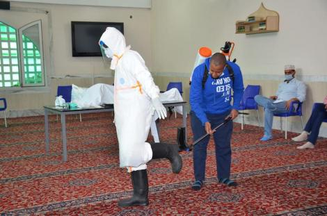 Training for volunteers on handling deceased Covid-19 victims at Jamia Mosque Nairobi. 4th April 2020.