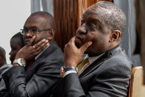 Treasury CS Henry Rotich and PS Kamau Thugge in court on July 13, 2019.