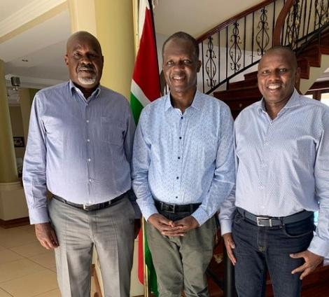 Jubilee Secretary General Raphael Tuju poses with Soy MP Caleb Kositany and Kikuyu MP Kimani Ichungwah at his home in Karen, Nairobi on March 16, 2020