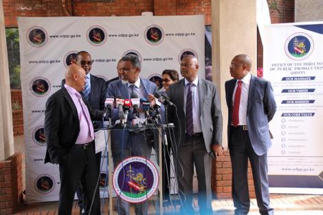 Ethics and Anti-Corruption Commission (EACC) CEO Twalib Mbarak, Director of Public Prosecutions (DPP) Noordin Haji and Directorate of Criminal Investigations (DCI) chief George Kinoti addressing a press conference in Nairobi on Thursday, March 5