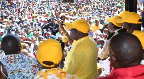 Former Machakos Senator Johnson Muthama addressing a crowd in Machakos on Tuesday, January 26, 2021.