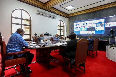 President Uhuru Kenyatta addresses a virtual summit of the Organization of the African, Caribbean and Pacific States (OACPS) on Wednesday, June 3, 2020