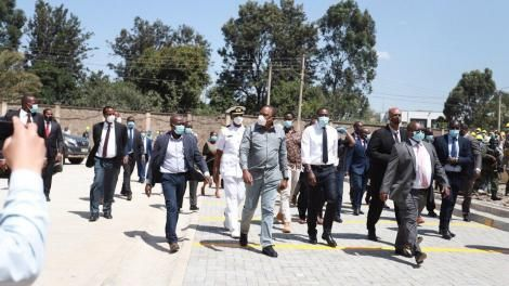 President Uhuru Kenyatta, Nairobi Senator Johnson Sakaja and General Mohamed Badi tour Nairobi Metropolitan Services's projects in Nairobi's informal settlements on Tuesday, June 30, 2020
