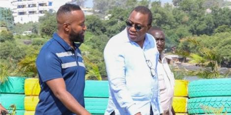 President Uhuru Kenyatta with Governor Hassan Joho during a past inspection tour in Mombasa