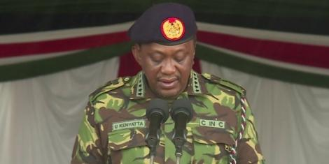 President Uhuru Kenyatta speaking during the Kenya Defence Forces Day in 2018
