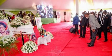 President Uhuru Kenyatta joins mourners at the funeral service of Mama Hannah Atsianzale Mudavadi at Mululu Village in Vihiga County on January 9, 2021