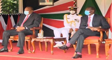 President Uhuru Kenyatta (left) with his deputy William Ruto (right) during Madaraka Day celebrations State House, Nairobi on June 1, 2020