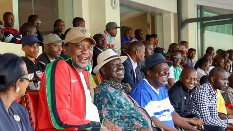 FROM LEFT: President Uhuru Kenyatta, ODM leader Raila Odinga, ANC leader Musalia Mudavadi and Football Kenya Federation (FKF) President Nick Mwenda at the Kasarani Stadium in Nairobi on Sunday, March 8