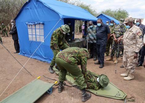 Paramilitary officers attached to the Quick Response Unit performing drills during their graduation ceremony at National Police Service, Magadi Field Training Campus on October 29, 2020