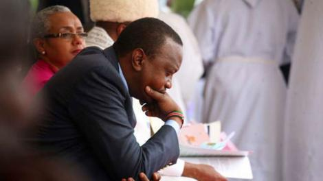 President Uhuru Kenyatta pictured during a church service in Nairobi in 2015