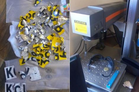 A motor vehicle and fibre laser cutting machine, alongside cut number plates seized by DCI officers in Ngara, Nairobi on Friday, February 21, 2020