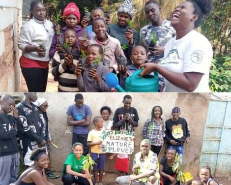 Top: Group led by climate activist Patricia Kombo and Bottom: the group led by environmental teen ambassador Rahmina Paulette