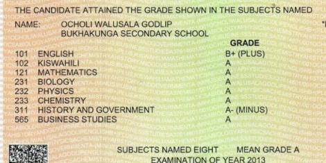 A screenshot of Godlip Ocholi's KCSE certificate