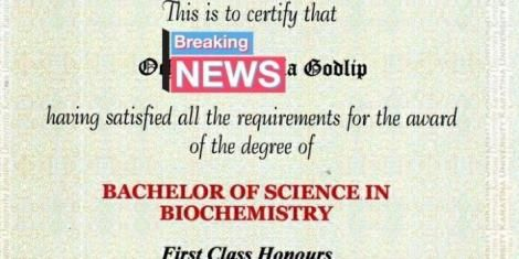 A screen shot of Godlip Ocholi's certificate from the Karatina University