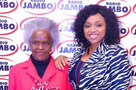 (From left): Mother-In-Law actress Elizabeth Wanjiru with Radio Jambo's Massawe Japanni on Monday, February 17, at Radio Jambo studios
