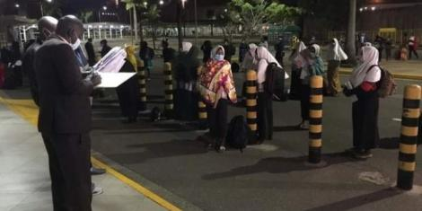 Stranded passengers at the Jomo Kenyatta International Airport on Thursday, November 26.