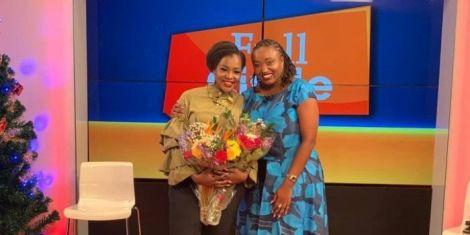 Media personalities Joyce Omondi (L) and Mwikali Mary (R) pose for a photo